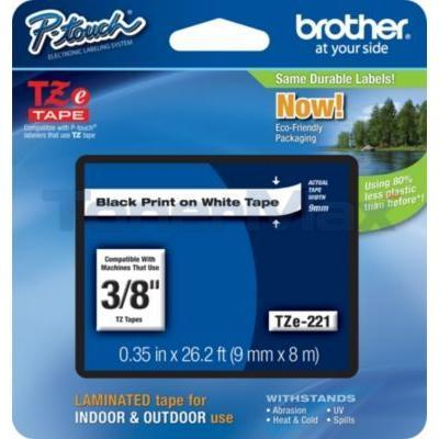 BROTHER TZ LAMINATED TAPE BLACK ON WHITE 0.35 IN X 26.2 FT